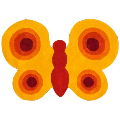 nuLOOM KinderLOOM Butterfly Yellow Kids Rug