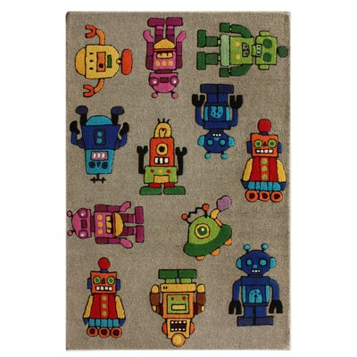 nuLOOM KinderLOOM Robot I Grey Kids Rug