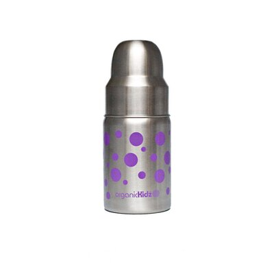 organicKidz Nine Ounce Wide Mouth Stainless Steel Baby Bottle in Lavender Dots