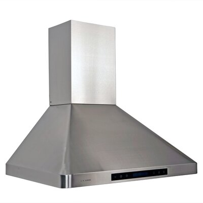 "Cavaliere Stainless Steel 30"" x 20"" Wall Mount Range Hood with Adjustable Airflow"
