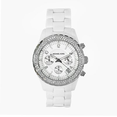 Michael Kors Women's White Acrylic Watch with Crystal