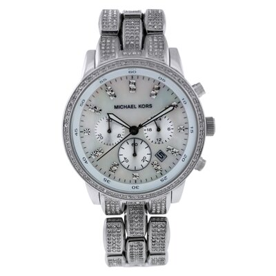 Michael Kors Women's Showstopper Glitz Watch with Mother of Pearl Chronograph Dial
