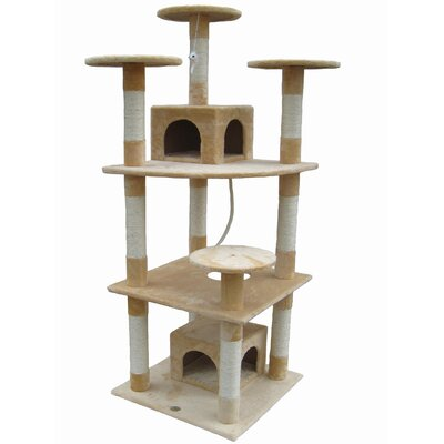 "Go Pet Club 70"" Cat Tree Condo House in Beige"