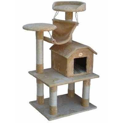 "Go Pet Club 50"" Cat Tree Condo House in Beige"