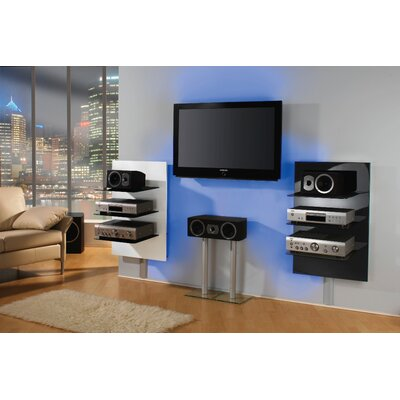 VCM Xeno-3 Wall Furniture with 3 Glass Shelves and Media Storage in Black Varnish / Clear Glass