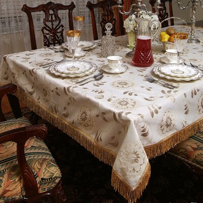 Violet Linen Legacy Floral Damask Fringes Design Tablecloth