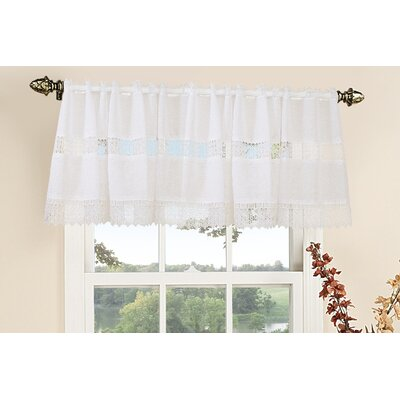 Violet Linen Treasure Lace Rod Pocket Ruffled Curtain Valance