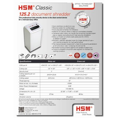 HSM of America,LLC HSM Classic 108.2c, 12-14 sheets, cross-cut, 13 gal. capacity