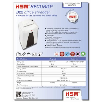 HSM of America,LLC HSM SECURIO B22c, 12-14 sheet, cross-cut, 8.7 gal. capacity