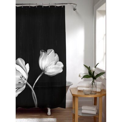 Maytex Tulip Photoreal PEVA Vinyl Shower Curtain in Black