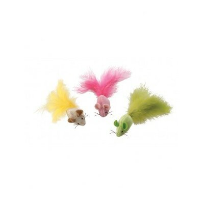 Plush Fantastic Feathers Mouse Cat Toy