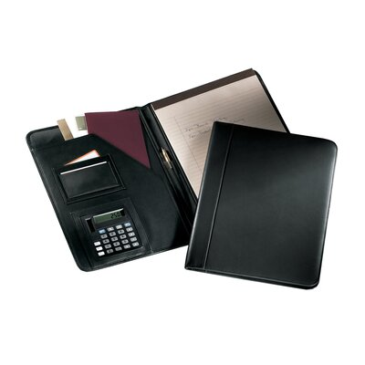 Andrew Philips Writing Pad Holder with Calculator in Black