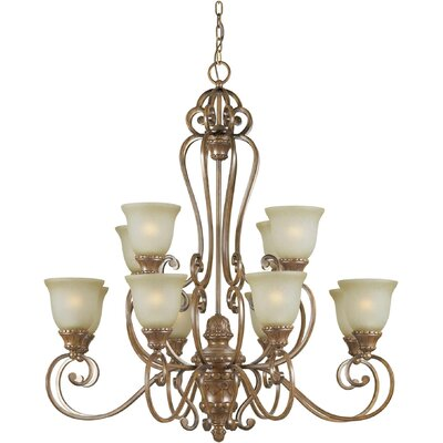 Forte Lighting 12 Light Chandelier with Umber Mist Shades