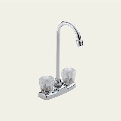 Classic Double Handle Centerset Bar Faucet with Clear Knob Handles