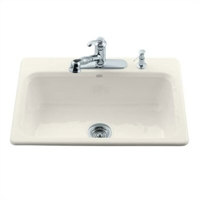 Kohler Bakersfield Self Rimming Kitchen Sink in Biscuit with Three Hole Faucet Drilling