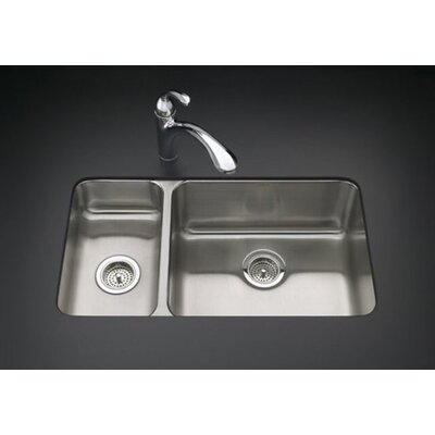 "Kohler Undertone 31-1/2"" X 18"" X 9-1/2"" Under-Mount High/Low Double-Bowl Kitchen Sink"