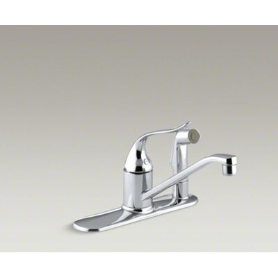 "Kohler Coralais Single-Control Kitchen Faucet with Sidespray Through Escutcheon and 8-1/2"" Swing Spout"