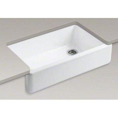 "Kohler Whitehaven 35.5"" x 21.56"" Self Trimming Undermount Single Bowl Kitchen Sink with Tall Apron"