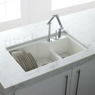 Kohler Indio Undermount Single Hole Offset Double Bowl Kitchen Sink