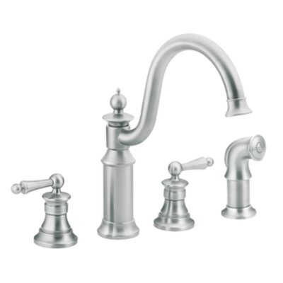 Moen Waterhill Two Handle Widespread High Arc Kitchen Faucet with Convenient Side Spray