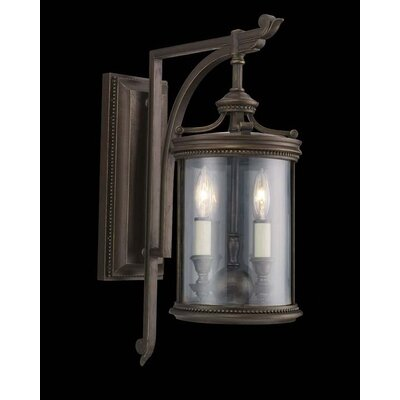 Fine Art Lamps Louvre Two Light Outdoor Wall Lantern in Fine Bronze