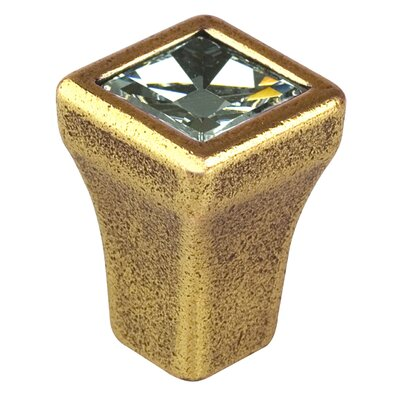 "Bosetti-Marella Swarovski Clear Crystal 0.5"" Knob in Antique Brass"