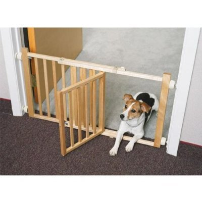 "Four Paws 18"" Walk-Over Wood Gate with Door"