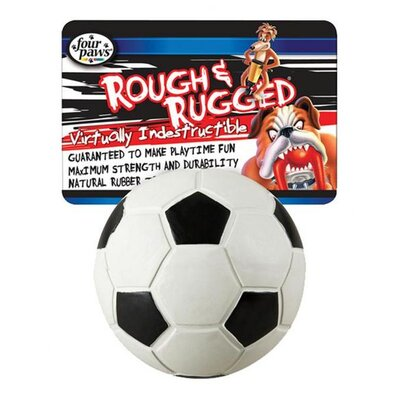 "Four Paws 2.75"" Rough and Rugged Soccer Ball with Bell Dog Toy"