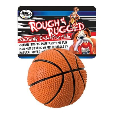 "Four Paws 2.75"" Rough and Rugged Basketball With Bell Dog Toy"