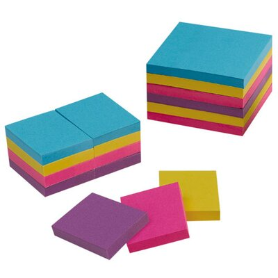 "Sparco Products Adhesive Notes, 3""x3"", 12/PK, Extreme Colors"