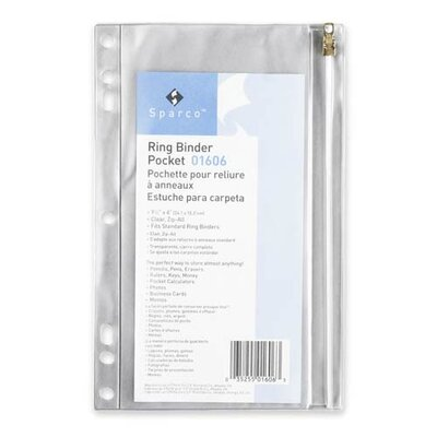 Sparco Products Ring Binder Pocket, w/ Zipper, Vinyl, Hole Punched, 9-1/2&quot;x6&quot;, CL