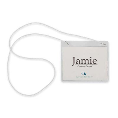 "Sparco Products Name Badges, Hanging Style, 3""x4"", 50/BX, Plain White"