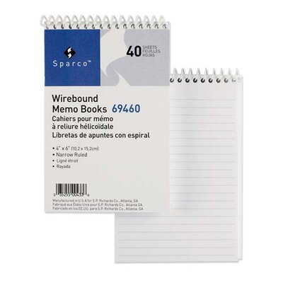 "Sparco Products Wirebound Memo Book, Side Spiral, 50 Shts, 5""x3"", White"