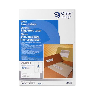 "Elite Image Mailing Label, Laser, White, 3-1/2""x5"", 400 per Pack"