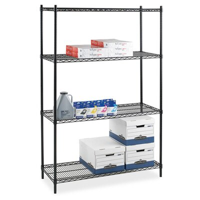 "Lorell Industrial Adjustable Wire Shelving Starter Unit, 36"" x 24"" x 72"", Black"