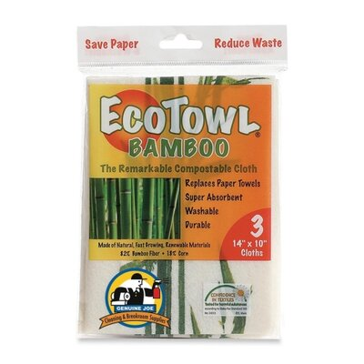 Genuine Joe EcoTow Bamboo, 14&quot;x10&quot;, 3 per Pack, White/Brown/Green