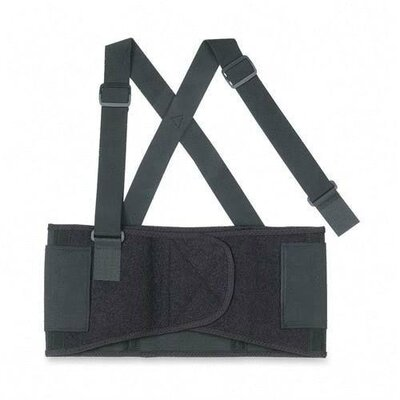 R3 Safety Back Support, Detachable Suspenders, Black, 3 Sizes
