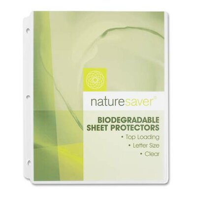 "Nature Saver Environment Friendly Sheet Protectors, Clear, 11""x8-1/2"", Biodegradable"