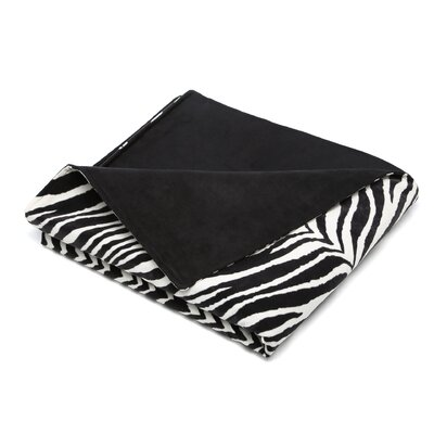 Chooty & Co Zebra Microsuede Topstitched Throw