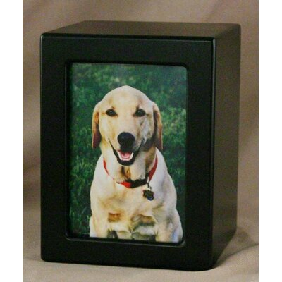 Star Legacy Funeral Network Large Photo Pet Urn in Black Satin