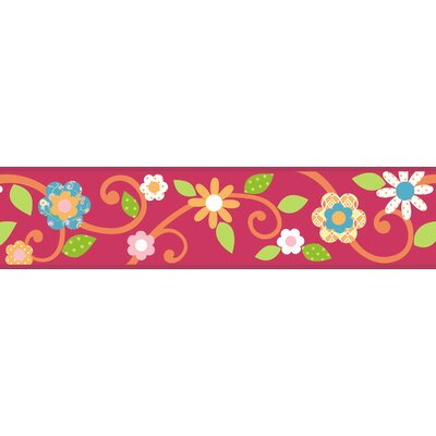 Studio Designs Scroll Floral Wall Border in Magenta / Orange