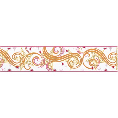 Room Mates Star Glitter Border in White / Pink / Orange