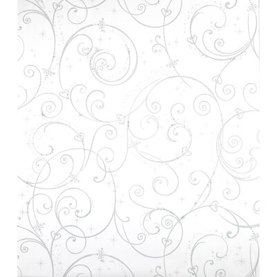 Room Mates Perfect Princess Scroll Wallpaper in White with Glitter