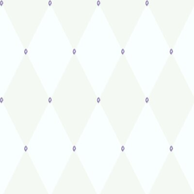 Room Mates Harlequin Wallpaper in White with Purple Gems