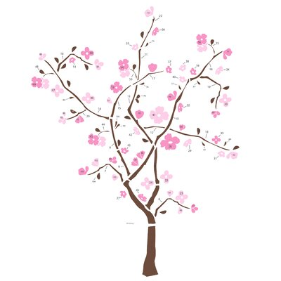Room Mates 105-Piece Spring Blossom Peel and Stick Giant Wall Decal