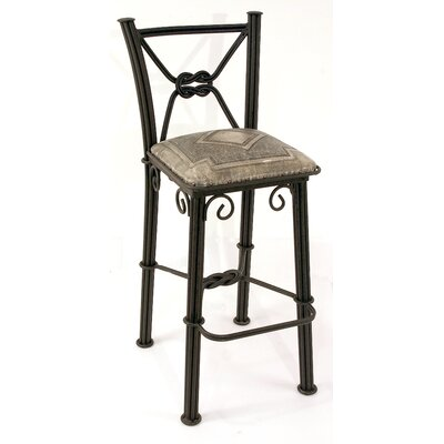 Western Iron Barstool with Back in Ash