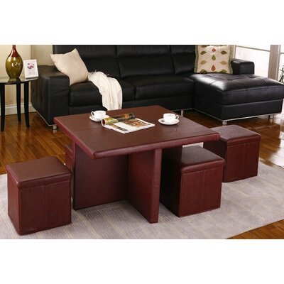 InRoom Designs Coffee Table With 4 Ottomans