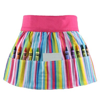 Princess Linens Doodlebugz Crayola Crayon Apron in Pink Stripe