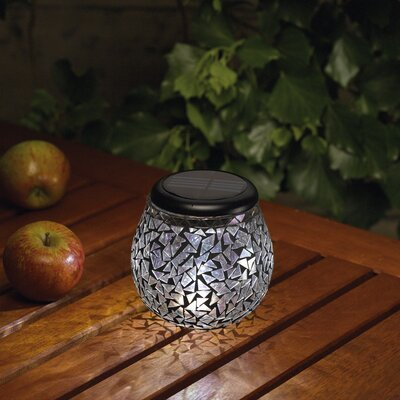 Glass Mosaic Solar Tea Light Obsidian Black Mirror