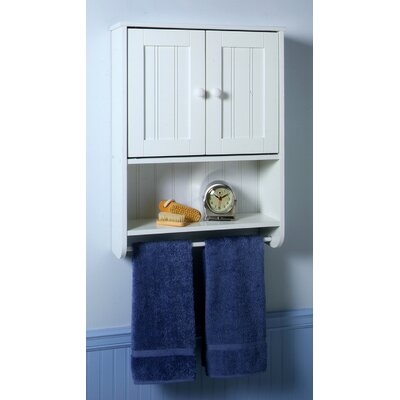 Wall Cabinet with Full Width Towel Bar in White